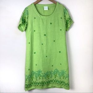 "Johnny Was ""t-shirt"" Green Tropical Print Tunic"